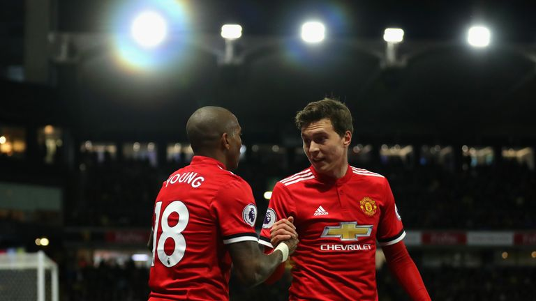 Victor Lindelof congratulates Ashley Young, who scored twice against Watford on Tuesday night