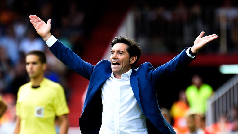 Valencia's coach Marcelino gestures on the sideline during the Spanish league footbal match Valencia CF vs Club Deportivo Leganes SAD at the Mestalla stadi
