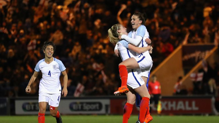 COLCHESTER, ENGLAND - NOVEMBER 28:  Melissa Lawley of England celebrates scoring the first goal with Keira Walsh of England during the FIFA Women's World C