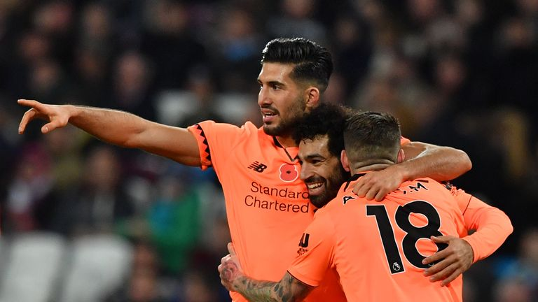 Players congratulate Mohamed Salah (C) after he extends Liverpool's lead