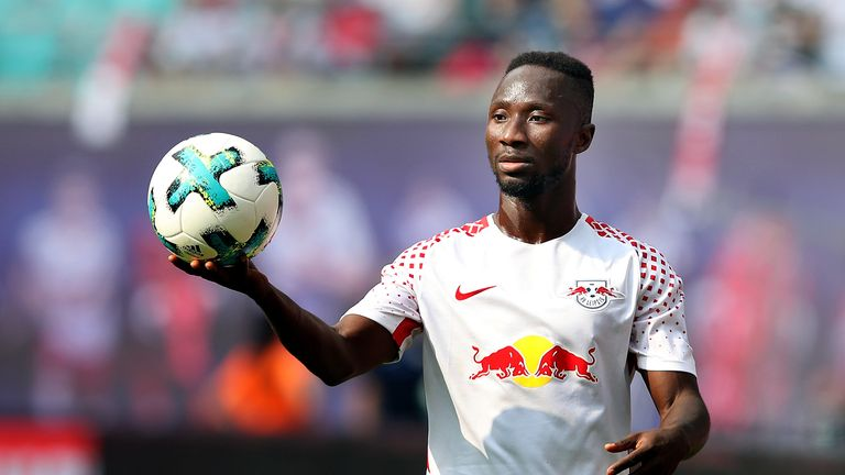 Naby Keita of Leipzig passes the ball during the Bundesliga match against Sport-Club Freiburg on August 27, 2017