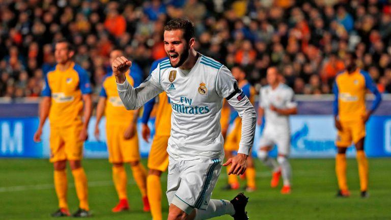 Nacho flicked in a third Madrid goal after 41 minutes in Cyprus