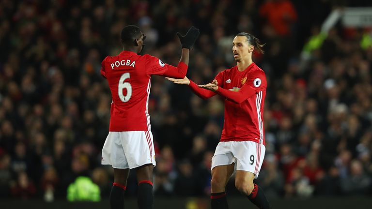 MANCHESTER, ENGLAND - NOVEMBER 27: Zlatan Ibrahimovic of Manchester United (R) celebrates scoring his sides first goal with Paul Pogba of Manchester United