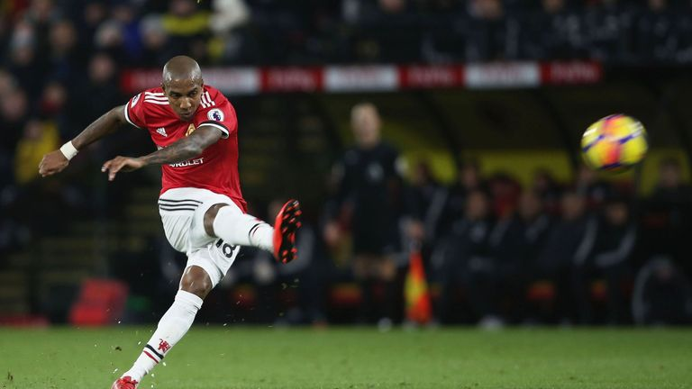 Ashley Young scored twice for United in the 4-2 win at Waford