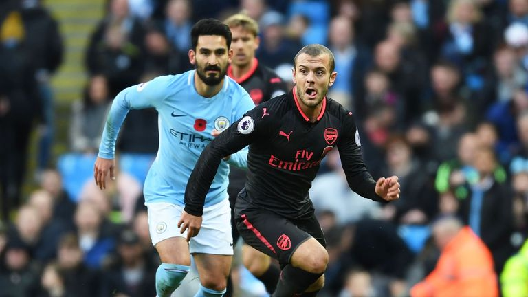 Jack Wilshere in action during the Premier League match against Manchester City at the Etihad Stadium on November 5, 2017