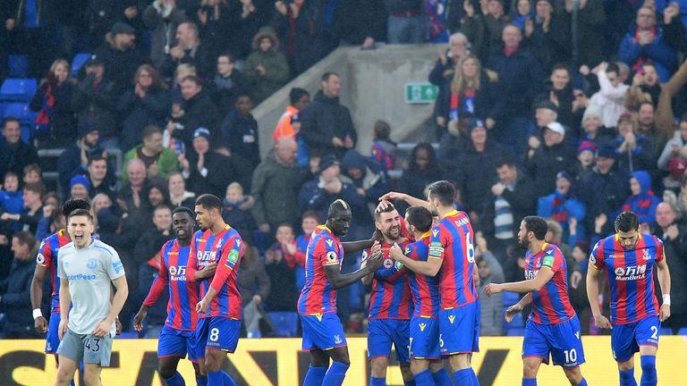 James McArthur celebrates scoring the opening goal with his team-mates
