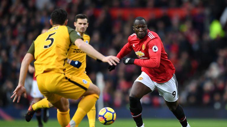 Romelu Lukaku in action during the Premier League match between Man Utd and Brighton