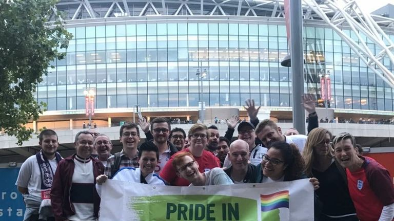 Fans from Pride In Football, the alliance for LGBT football fan groups, at Wembley Stadium