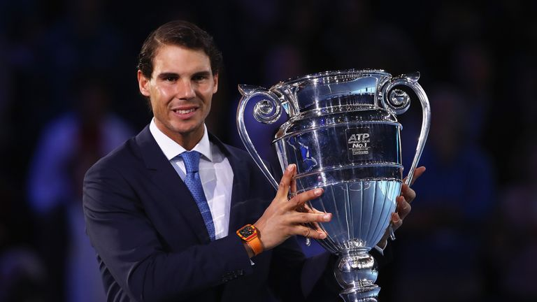 Nadal holds aloft the Emirates ATP year-end world No 1 trophy