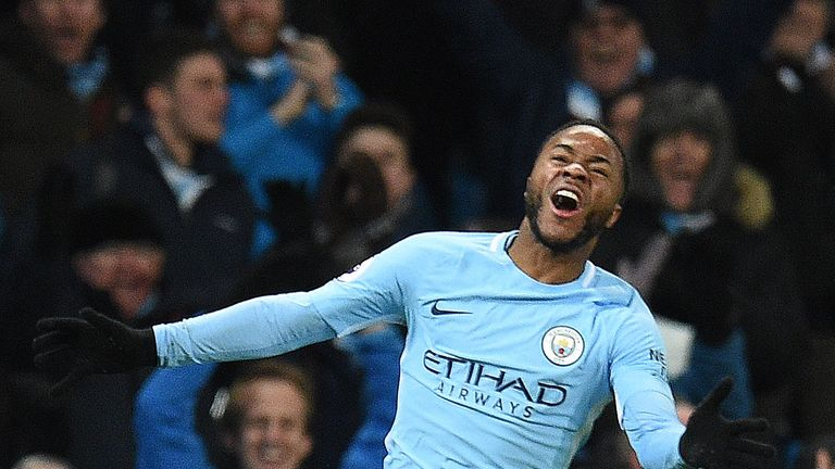 Manchester City's English midfielder Raheem Sterling celebrates scoring his team's second goal during the English Premier League football match between Man