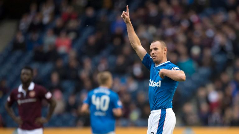 Rangers' Kenny Miller scored twice for Rangers on his return to first-team action against Hearts at Murrayfield