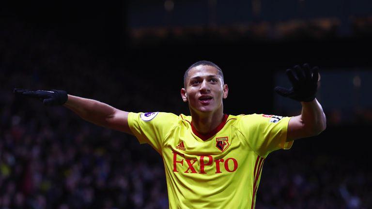 Richarlison celebrates after scoring Watford's second goal against West Ham