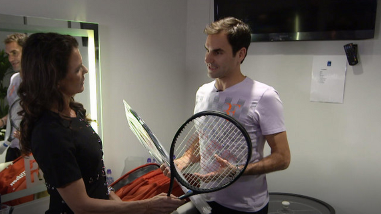 Roger Federer gives Annabel Croft a tour of his private locker room at The O2