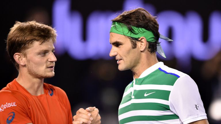 Roger Federer (right) takes on Belgium's David Goffin in the semi-finals of the ATP Finals on Saturday afternoon