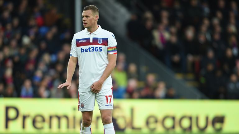 Stoke City's Ryan Shawcross wears a rainbow captain's armband during the Premier League match at the Selhurst Park, London