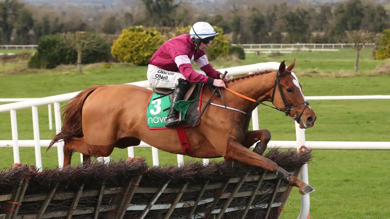 Samcro ridden by Jack Kennedy jumps the last to win The `Monksfield` Novice Hurdle  at Naven Racecourse, County Meath, Ireland. PRESS ASSOCIATION Photo. Pi