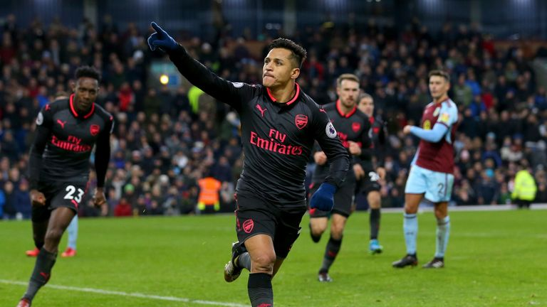 BURNLEY, ENGLAND - NOVEMBER 26:  Alexis Sanchez of Arsenal celebrates scoiring the first goal during the Premier League match between Burnley and Arsenal a
