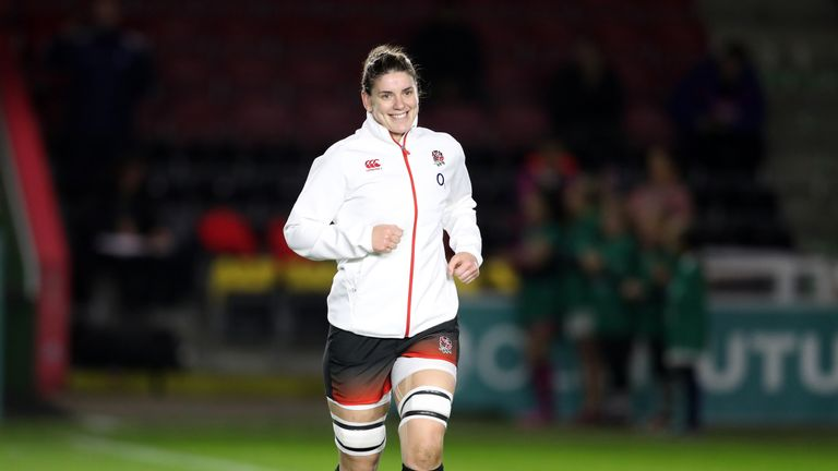 Hunter runs out for her 100th cap against Canada at the Stoop