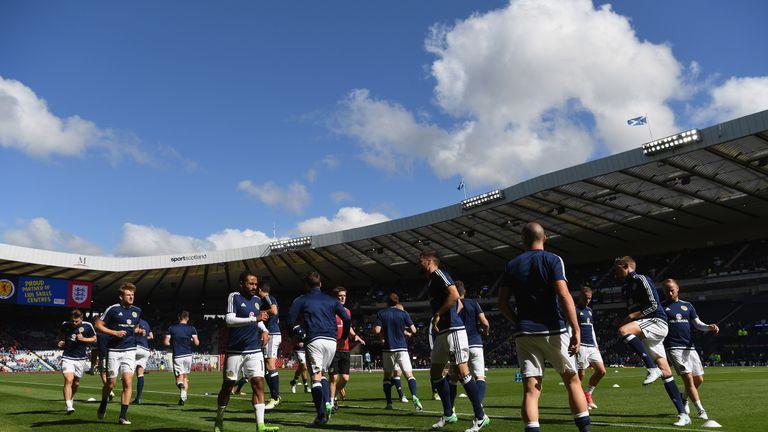The Scotland team warm up at Hampden