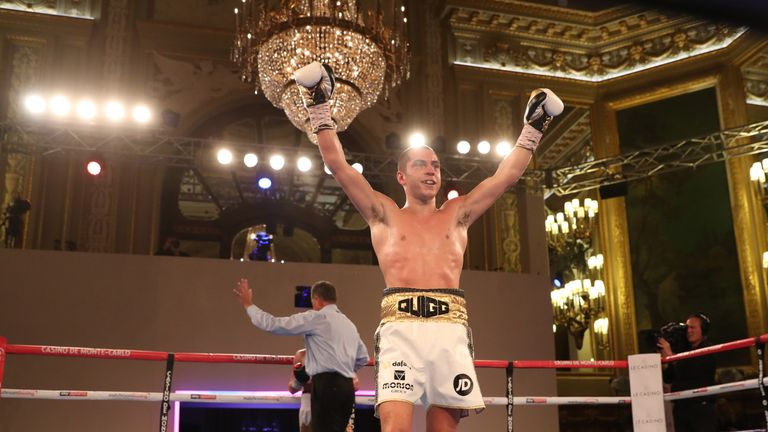 Quigg celebrates his victory over the Ukrainian in Monte Carlo