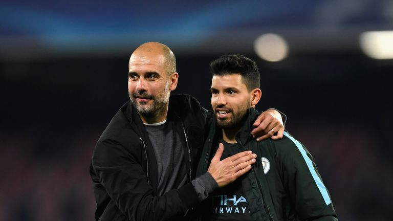 NAPLES, ITALY - NOVEMBER 01: Josep Guardiola, Manager of Manchester City and Sergio Aguero of Manchester City embrace after the UEFA Champions League group
