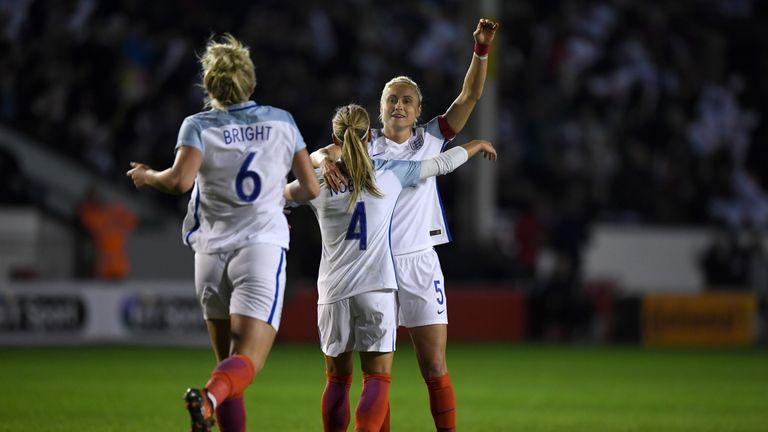 England's Steph Houghton celebrates scoring her second goal against Bosnia