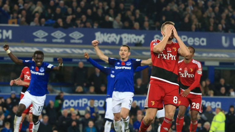 Cleverley failed to convert from the spot, meaning Everton held on for victory