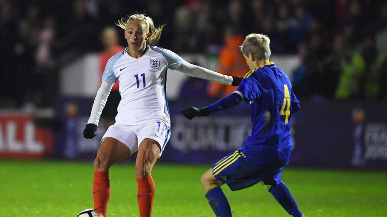 England's Toni Duggan is faced by Amira Spahic of Bosnia and Herzegovina