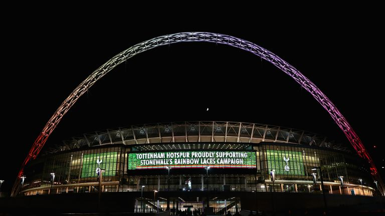 The Wembley arch was lit up in rainbow colours for the Rainbow Laces campaign last year