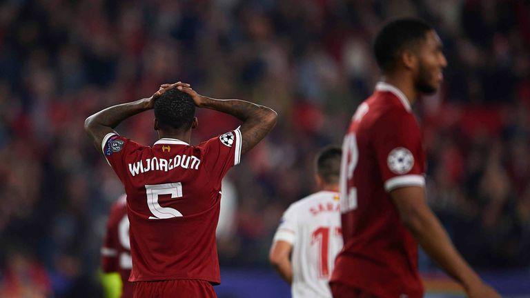 Liverpool's Georginio Wijnaldum shows his dejection during the 3-3 draw