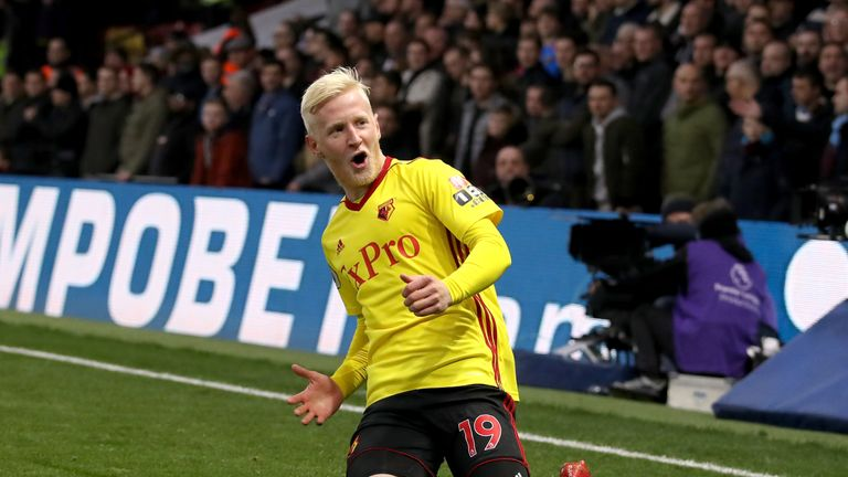 Watford's Will Hughes celebrates his first-half strike