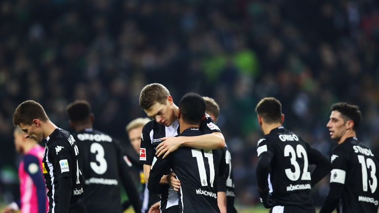 Monchengladbach celebrate taking a two-goal lead against Bremen