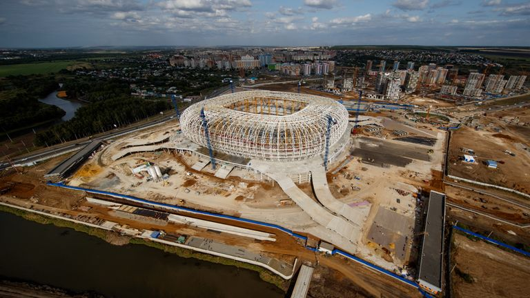 Photo of the construction site of the Mordovia Arena in Saransk in 2017