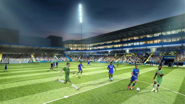 Projected image of new stadium at Plough Lane  (Credit: AFC Wimbledon)
