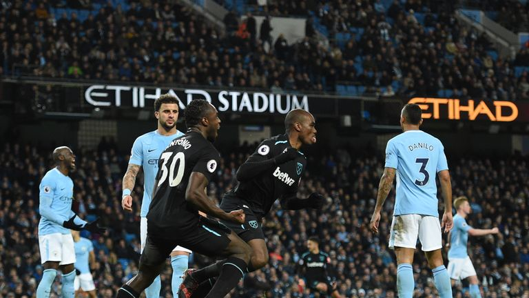 Angelo Ogbonna gave West Ham a shock lead at the Etihad