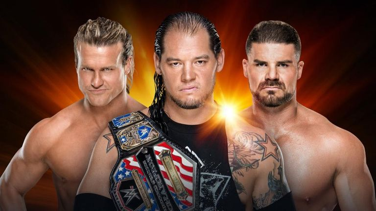 US title holder Baron Corbin defends against Dolph Ziggler and Bobby Roode in a triple threat match
