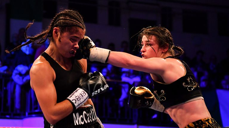 Katie Taylor in action against Jessica McCaskill for the WBA World Lightweight Championship at York Hall