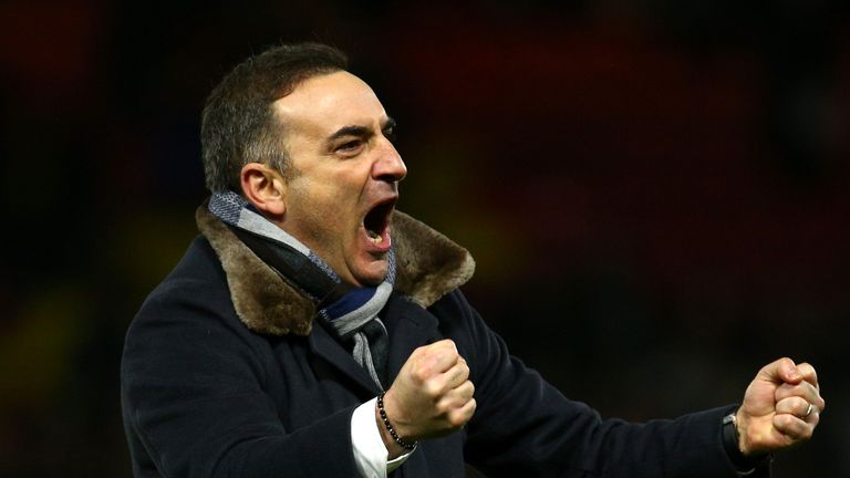 Carlos Carvalhal celebrates his side's 2-1 victory over Watford
