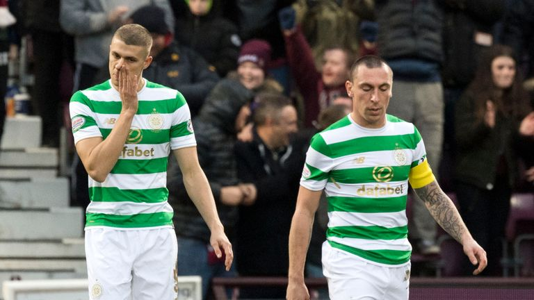 Dejection for Celtic's Jozo Simunovic (left) and Scott Brown after conceding a third goal