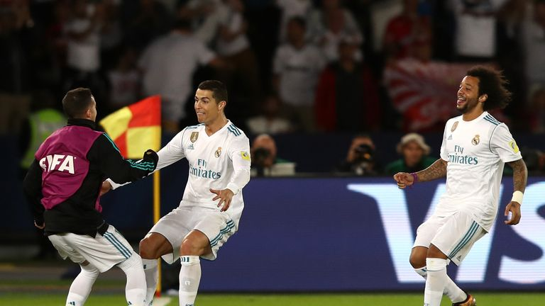 Cristiano Ronaldo celebrates after scoring for Real Madrid against Gremio