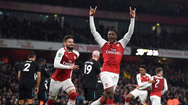 Danny Welbeck scored from close range to put Arsenal ahead