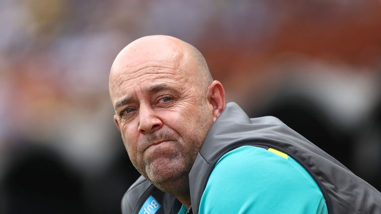 Australian Head Coach Darren Lehmann looks on during day four of the Second Test match during the 2017/18 Ashes Series