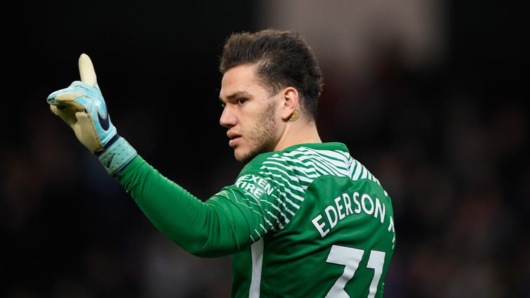 MANCHESTER, ENGLAND - DECEMBER 03:  City goalkeeper Ederson Moraes reacts during the Premier League match between Manchester City and West Ham United at Et