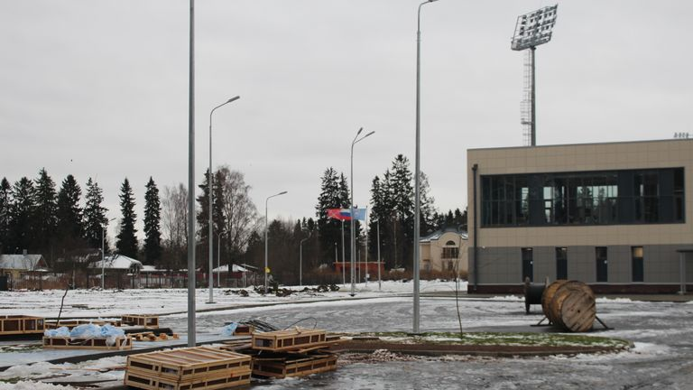 England's training pitch for the World Cup is being built in rural Russia near the Gulf of Finland.