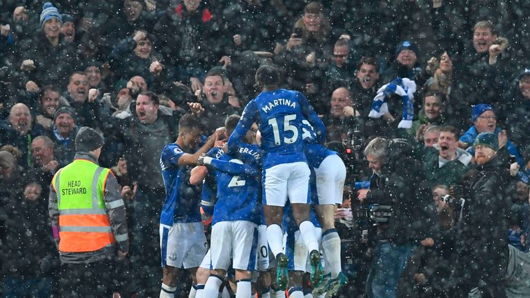 Everton players celebrate their equaliser against the run of play