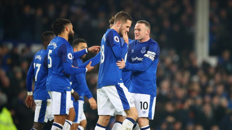 LIVERPOOL, ENGLAND - DECEMBER 18:  Gylfi Sigurdsson of Everton (18) celebrates as he scores their second goal with Wayne Rooney (10) during the Premier Lea