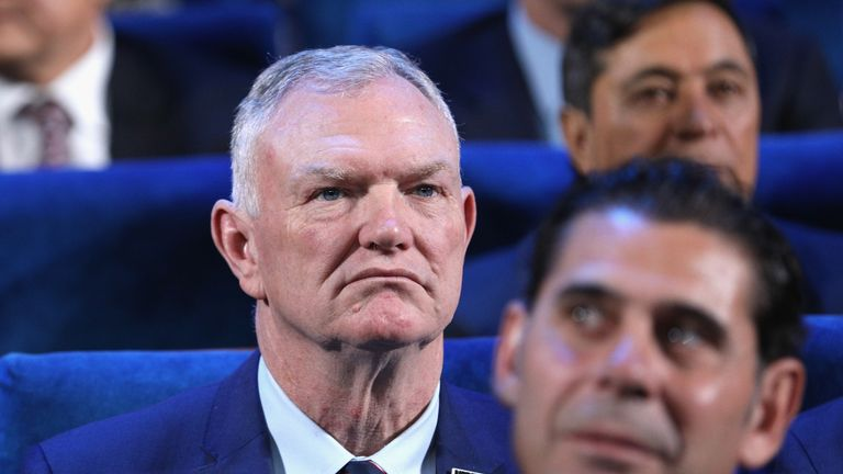 Greg Clarke looks on during the Final Draw for the 2018 FIFA World Cup Russia at the State Kremlin Palace on December 1, 2017