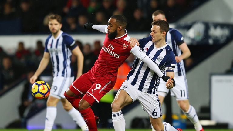 Alexandre Lacazette of Arsenal holds off Jonny Evans of West Bromwich Albion during the Premier League match at The Hawthorns