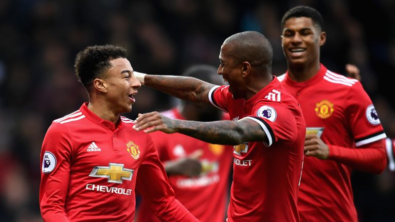 WEST BROMWICH, ENGLAND - DECEMBER 17:  Jesse Lingard of Manchester United celebrates after scoring his sides second goal with teammate Ashley Young during