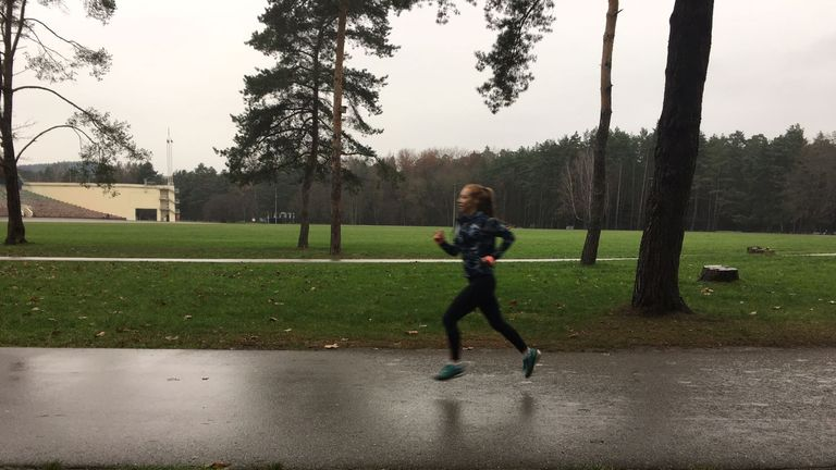 Francesca putting in the miles during a tough winter training schedule